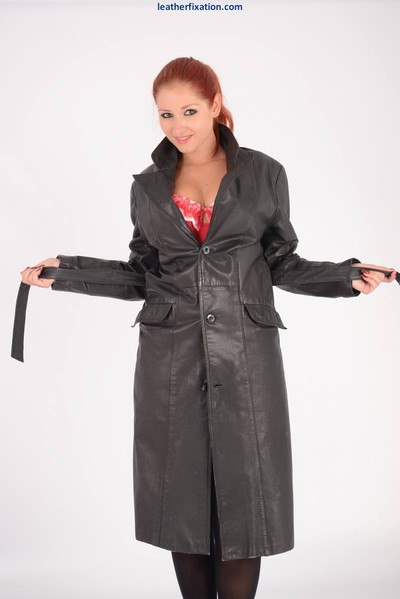 Appealing fiery redhead harley flashes easy to get her leather trench co