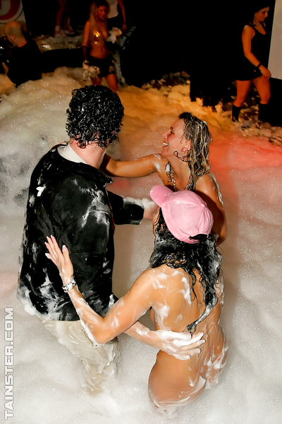 Seductive euopean models having enjoyment with malestrippers at the love making act foam munch