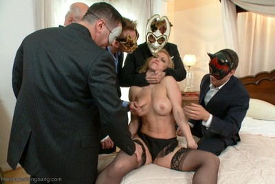 Lass attains fixed firmly up and bonked by group of dick-holders in groupie gangbangs