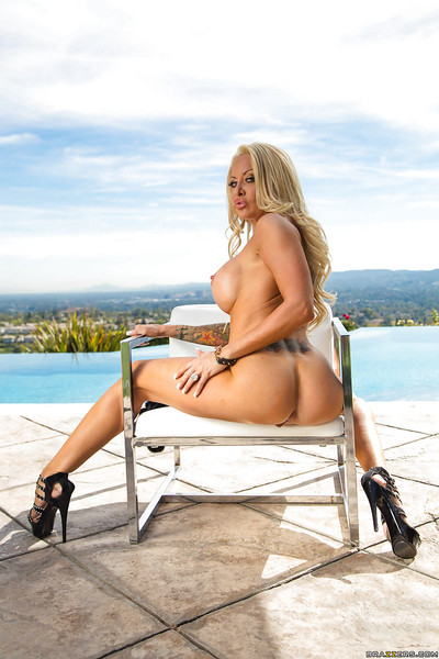 Buxom fairy-haired sample Helly Mae Hellfire flaunting colossal juggs outdoors