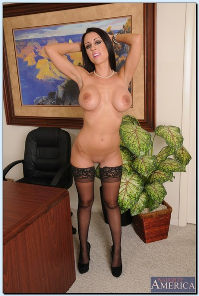 Largest busted office lady grand off her formal costume and sexy pants