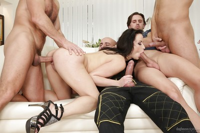Mini dark hair MILF Nikki Charming jerking and blowing ramrod whilst riding snake