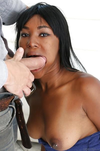Ebon massive bumpers of a sticky pornstar Ashton Devine are teased when this chick dose oral sex