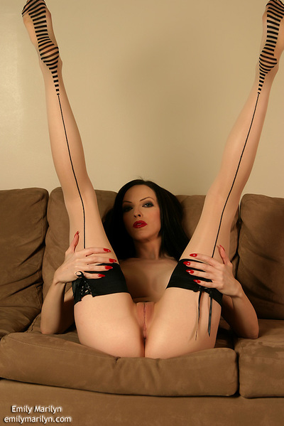 Hawt brunette hair fixation instance Emily Marilyn stretching in lace corset and gentile high