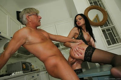 Hawt MILF Abbie Flogger gives a footjob and receives team-fucked hardcore anally