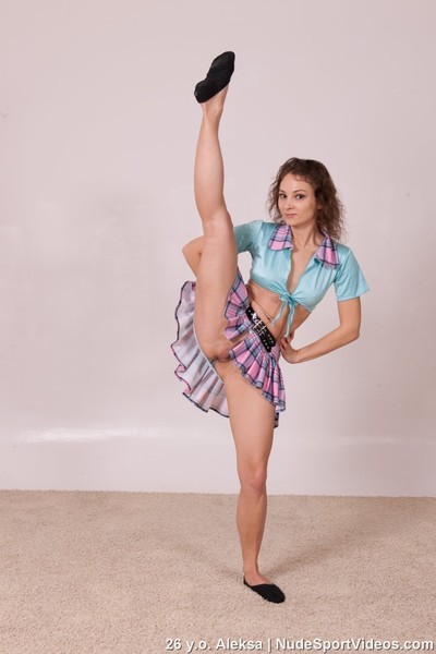 Clothed and unclothed insignificant young cutie dances and expands