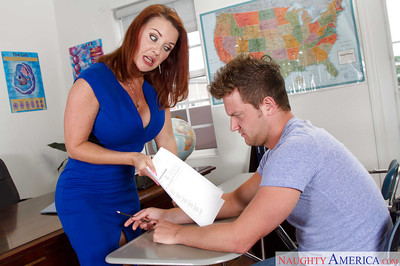 Grandpa redhead mentor Janet Mason gives student passing mark afterwards blowjob fucking submission
