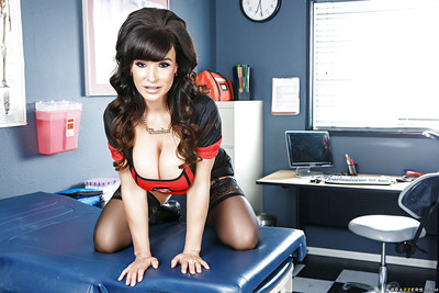 Covered floozy Lisa Ann is posing in her appealing nurse outfit