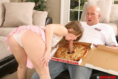 Adorable Lane receives dug by pizza-guy for a  on her front bumpers and tongue