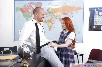 Glasses and uniform attired redheaded schoolgirl Dolly Adult baby giving bj