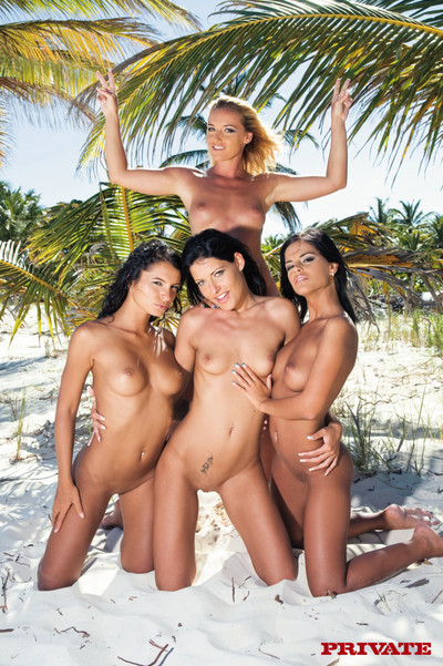 Hot hush-hush models posing on tropic beach