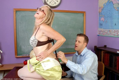 Sweaty fairy-haired tutor sucks and enjoys tough meatpole