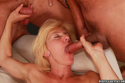 Hungry established receives penetrated hardcore and facialized by four studs