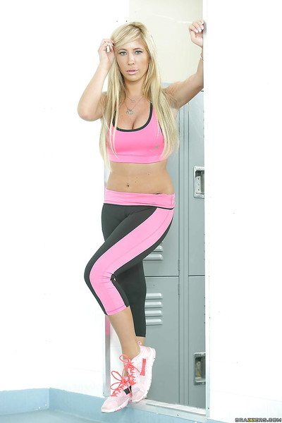 Sporty gal Tasha Reign shows off her common biggest mounds in yoga panties