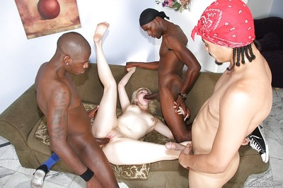 Hardcore golden-haired Alice Frost is astonishingly with gang of enormous swarthy males