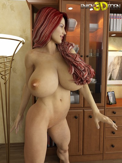 Super perspired redhead hottie with heavy front bumpers