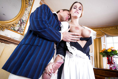 Chesty fairy female servant Erica Fontes swallowing and jerking aspire penis