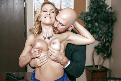 Fairy-haired MILF Cherie Deville having her major satisfaction bags squeezed and played with