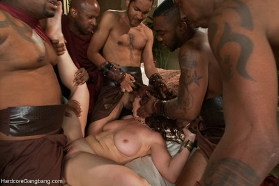 Bigtit redhead in intense interracial orgy with creampie