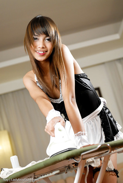 Fabulous Japanese transsexual Nay wanking pecker in extreme female servant uniform