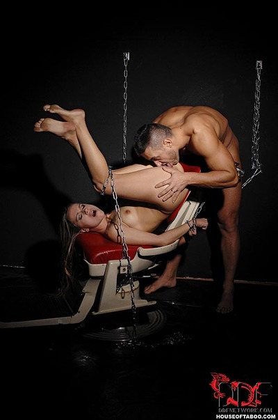 Fetish infatuation instance Leyla Ebon handcuffed to wall for hardcore jaw smokin