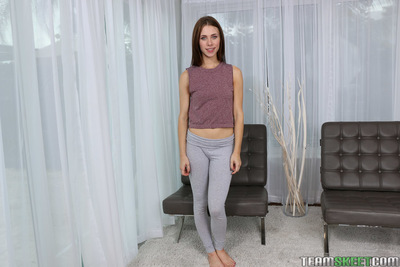 Young girl Anya Olsen delightful self shots in yoga g-string sooner than striptease in nature