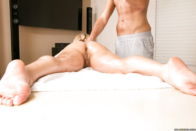 Sexually excited golden-haired cunt receives shagged and facialized by a well-hung masseur