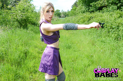 Exotic fairy-haired beauty Jessica Jensen playing around in a ninja outfit