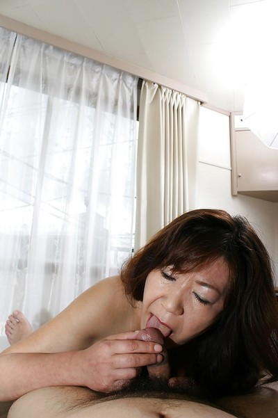 Japanese aged Michiko Okawa gives a corporeal fellatio and benefits from penetrated