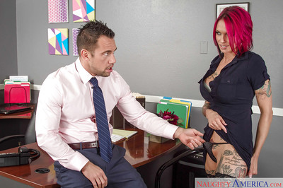 Sticky readhead Anna Bell Peaks giving fellatio at the office and getting jism in throat