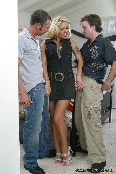 Titsy fairy-haired MILF obtains screwed and facialized by dual hung friends