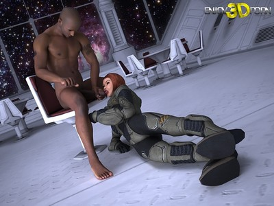 Mercenary ladyboy from future bonks her hunk captor