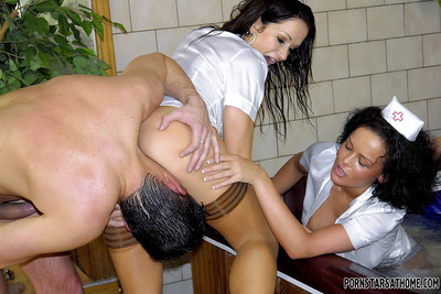 Lecherous MILFs in hawt nurse uniforms play a hawt CFNM groupsex