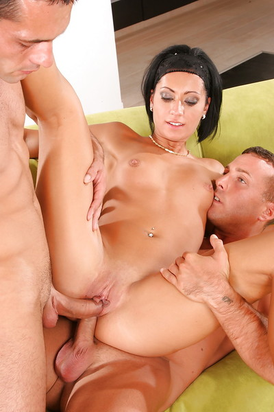 Lustful european brunette hair attains blowbanged and twofold drilled
