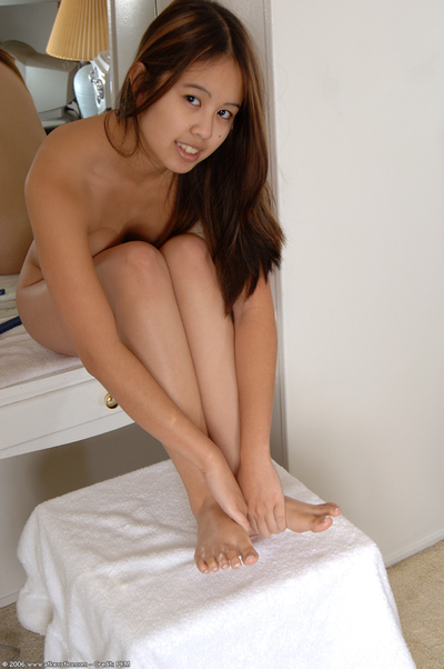 Infant Japanese solo beauty takes her clothes off and massages untamed legs and barefeet