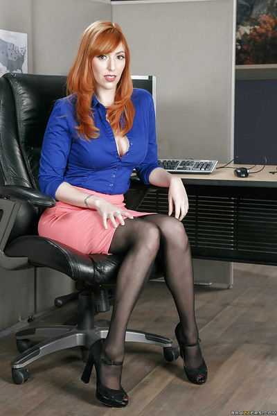 Redhead secretary Lauren Phillips exposing largest cutie genus milk cans in office