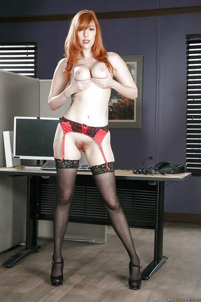 Redhead secretary Lauren Phillips exposing largest cutie genus milk cans in office