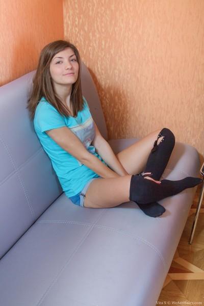 Vita s strips from denim underwear and nylons