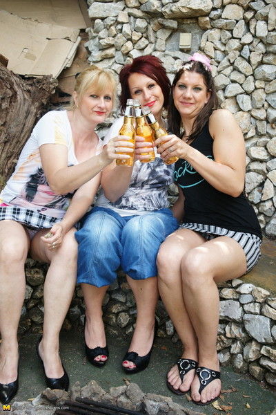 Triple sexual old and youthful lesbian cuties make it sexy outdoors