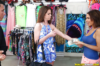 Boobsy honeys Dylan Daniels and Stacey Levine blow snake in public for ready money