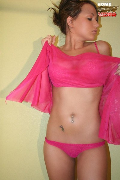 Astounding queen in pink does hand brassiere on her large love muffins