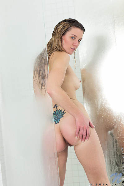 Delectable sierra day cums on glass appliance in the baths
