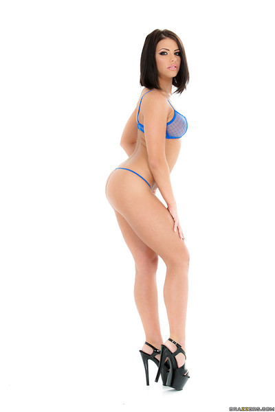 Brunette hair model Adriana Chechik flaunting watertight apple bottoms and curly bush in heels