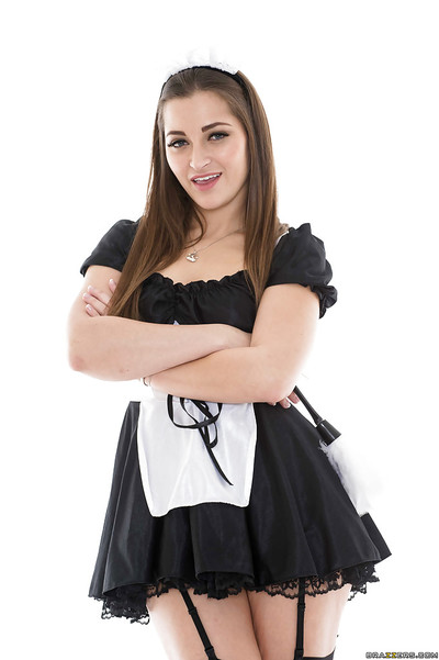 Glamorous woman servant Dani Daniels location in her amazing uniform and high heels