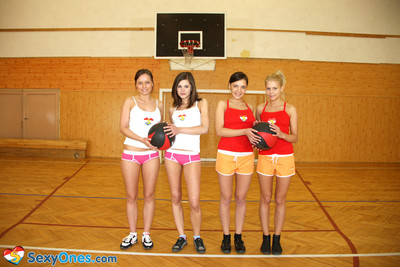 Schoolgirls playing basketball unclothed
