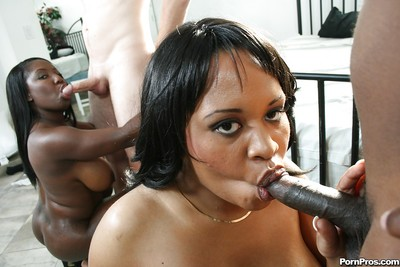 Brown cock-suckers Kandi and Luxury getting team-banged in a hawt groupsex