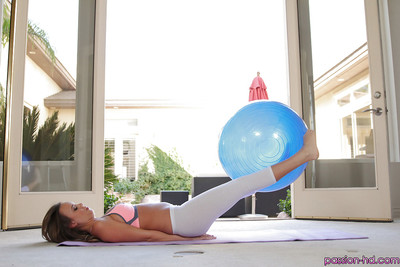 Clammy pretty Alexis Adams working out in sports underwear and yoga panties