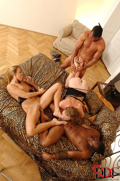 Leggy princesses Joana & Ulrika eat dick water from barefeet whilst interracial 4some