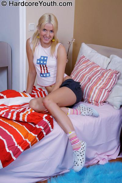 Miniscule blonde dear takes dual sticky jocks one by one in her guiltless apple bottoms