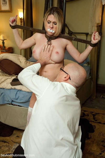 Damp milf female servant waste drilled and punished in bondage!